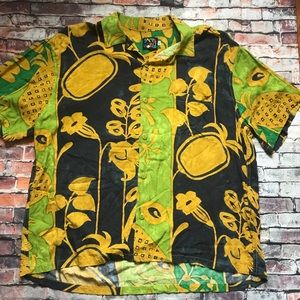 Jams World Men's Green Pineapple Hawaiian T Shirt